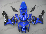 Honda CBR600RR 2005 2006 candy blue and blackfairing kits, this Honda CBR600RR 2005 2006 plastics was applied in candy blue and blackgraphics, this 2005 2006 CBR600RR fairing set comes with the both color and decals shown as the photo.If you want to do custom fairings for CBR600RR 2005 2006,our talented airbrusher will custom it for you.
