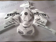 Honda CBR1000RR 2004 2005 White/silver Repsol fairing kits, this Honda CBR1000RR 2004 2005 plastics was applied in White/silver Repsolgraphics, this 2004 2005 CBR1000RR fairing set comes with the both color and decals shown as the photo.If you want to do custom fairings for CBR1000RR 2004 2005,our talented airbrusher will custom it for you.