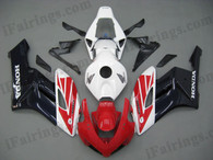 Honda CBR1000RR 2004 2005 red/white/black fairing kits, this Honda CBR1000RR 2004 2005 plastics was applied in red/white/blackgraphics, this 2004 2005 CBR1000RR fairing set comes with the both color and decals shown as the photo.If you want to do custom fairings for CBR1000RR 2004 2005,our talented airbrusher will custom it for you.