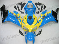 Honda CBR1000RR 2004 2005 yellow/blue/black fairing kits, this Honda CBR1000RR 2004 2005 plastics was applied in yellow/blue/blackgraphics, this 2004 2005 CBR1000RR fairing set comes with the both color and decals shown as the photo.If you want to do custom fairings for CBR1000RR 2004 2005,our talented airbrusher will custom it for you.