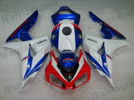Honda CBR1000RR 2006 2007 white/blue fairing kits, this Honda CBR1000RR 2006 2007 plastics was applied in white/bluegraphics, this 2006 2007 CBR1000RR fairing set comes with the both color and decals shown as the photo.If you want to do custom fairings for CBR1000RR 2006 2007,our talented airbrusher will custom it for you.