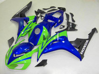 Honda CBR1000RR 2006 2007 green/blue/black fairing kits, this Honda CBR1000RR 2006 2007 plastics was applied in green/blue/blackgraphics, this 2006 2007 CBR1000RR fairing set comes with the both color and decals shown as the photo.If you want to do custom fairings for CBR1000RR 2006 2007,our talented airbrusher will custom it for you.