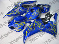 Honda CBR1000RR 2006 2007 blue and yellow flame fairing kits, this Honda CBR1000RR 2006 2007 plastics was applied in blue and yellow flamegraphics, this 2006 2007 CBR1000RR fairing set comes with the both color and decals shown as the photo.If you want to do custom fairings for CBR1000RR 2006 2007,our talented airbrusher will custom it for you.