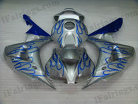 Honda CBR1000RR 2006 2007 silver and blue flame fairing kits, this Honda CBR1000RR 2006 2007 plastics was applied in silver and blue flamegraphics, this 2006 2007 CBR1000RR fairing set comes with the both color and decals shown as the photo.If you want to do custom fairings for CBR1000RR 2006 2007,our talented airbrusher will custom it for you.