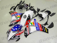 Honda CBR1000RR 2008 2009 2010 2011 EUROBET fairing kits, this Honda CBR1000RR 2008 2009 2010 2011 plastics was applied in EUROBETgraphics, this 2008 2009 2010 2011 CBR1000RR fairing set comes with the both color and decals shown as the photo.If you want to do custom fairings for CBR1000RR 2008 2009 2010 2011,our talented airbrusher will custom it for you.