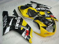 Suzuki GSXR600/750 2001 2002 2003 yellow and black fairing kits, this Suzuki GSXR600/750 2001 2002 2003 plastics was applied in yellow and black graphics, this 2001 2002 2003 GSXR600/750 fairing set comes with the both color and decals shown as the photo.If you want to do custom fairings for GSXR600/750 2001 2002 2003,our talented airbrusher will custom it for you.