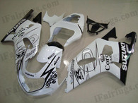 Suzuki GSXR600/750 2001 2002 2003 white Corona fairing kits, this Suzuki GSXR600/750 2001 2002 2003 plastics was applied in white Corona graphics, this 2001 2002 2003 GSXR600/750 fairing set comes with the both color and decals shown as the photo.If you want to do custom fairings for GSXR600/750 2001 2002 2003,our talented airbrusher will custom it for you.