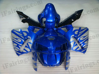 Honda CBR600RR 2005 2006 blue and flamefairing kits, this Honda CBR600RR 2005 2006 plastics was applied in blue and flamegraphics, this 2005 2006 CBR600RR fairing set comes with the both color and decals shown as the photo.If you want to do custom fairings for CBR600RR 2005 2006,our talented airbrusher will custom it for you