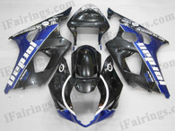 OEM quality fairings and body kits for 2003 2004 Suzuki GSXR1000 with blue/black jordan color scheme/graphics, these fairing kits are oem quality, fast shipping and easy installtion. More factory color-matched fairings for GSXR1000 2003 2004, team race replica fairings and custom fairing sets for Suzuki GSXR1000 2003 2004, please browse iFairings.com.