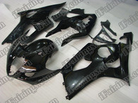 Suzuki GSXR1000 2003 2004 glossy black fairing kits, this Suzuki GSXR1000 2003 2004 plastics was applied in glossy black graphics, this 2003 2004 GSXR1000 fairing set comes with the both color and decals shown as the photo.If you want to do custom fairings for GSXR1000 2003 2004,our talented airbrusher will custom it for you.