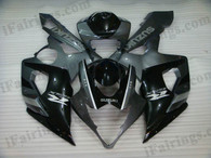 Suzuki GSXR1000 2005 2006 black/grey fairing kits, this Suzuki GSXR1000 2005 2006 plastics was applied in black/grey graphics, this 2005 2006 GSXR1000 fairing set comes with the both color and decals shown as the photo.If you want to do custom fairings for GSXR1000 2005 2006,our talented airbrusher will custom it for you.