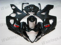 Suzuki GSXR1000 2005 2006 glossy black/matt black fairing kits, this Suzuki GSXR1000 2005 2006 plastics was applied in glossy black/matt black graphics, this 2005 2006 GSXR1000 fairing set comes with the both color and decals shown as the photo.If you want to do custom fairings for GSXR1000 2005 2006,our talented airbrusher will custom it for you.
