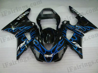Yamaha YZF-R1 1998 1999 black and blue flame fairing kits, this Yamaha YZF-R1 1998 1999 plastics was applied in black and blue flamegraphics, this 1998 1999 YZF-R1 fairing set comes with the both color and decals shown as the photo.If you want to do custom fairings for YZF-R1 1998 1999,our talented airbrusher will custom it for you.