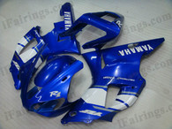 Yamaha YZF-R1 1998 1999 blue/white fairing kits, this Yamaha YZF-R1 1998 1999 plastics was applied in blue/whitegraphics, this 1998 1999 YZF-R1 fairing set comes with the both color and decals shown as the photo.If you want to do custom fairings for YZF-R1 1998 1999,our talented airbrusher will custom it for you.