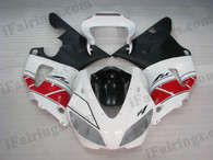 Yamaha YZF-R1 1998 1999 50th anniversary fairing kits, this Yamaha YZF-R1 1998 1999 plastics was applied in 50th anniversarygraphics, this 1998 1999 YZF-R1 fairing set comes with the both color and decals shown as the photo.If you want to do custom fairings for YZF-R1 1998 1999,our talented airbrusher will custom it for you.