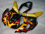 Yamaha YZF-R1 1998 1999 black and yellow flame fairing kits, this Yamaha YZF-R1 1998 1999 plastics was applied in black and yellow flamegraphics, this 1998 1999 YZF-R1 fairing set comes with the both color and decals shown as the photo.If you want to do custom fairings for YZF-R1 1998 1999,our talented airbrusher will custom it for you.