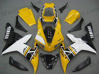 Yamaha YZF-R1 2002 2003 50th anniversary fairing kits, this Yamaha YZF-R1 2002 2003 plastics was applied in 50th anniversarygraphics, this 2002 2003 YZF-R1 fairing set comes with the both color and decals shown as the photo.If you want to do custom fairings for YZF-R1 2002 2003,our talented airbrusher will custom it for you.