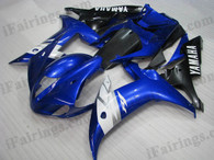 Yamaha YZF-R1 2002 2003 blue/black fairing kits, this Yamaha YZF-R1 2002 2003 plastics was applied in blue/black graphics, this 2002 2003 YZF-R1 fairing set comes with the both color and decals shown as the photo.If you want to do custom fairings for YZF-R1 2002 2003,our talented airbrusher will custom it for you.