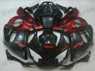 Yamaha YZF-R6 1998 to 2002 red and black flame fairing kits, this Yamaha YZF-R6 1998 to 2002 plastics was applied in red and black flame graphics, this 1998 to 2002 YZF-R6 fairing set comes with the both color and decals shown as the photo.If you want to do custom fairings for YZF-R6 1998 to 2002,our talented airbrusher will custom it for you.