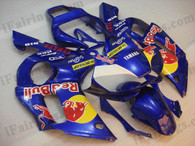 Yamaha YZF-R6 1998 to 2002 red bull fairing kits, this Yamaha YZF-R6 1998 to 2002 plastics was applied in red bull graphics, this 1998 to 2002 YZF-R6 fairing set comes with the both color and decals shown as the photo.If you want to do custom fairings for YZF-R6 1998 to 2002,our talented airbrusher will custom it for you.