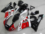 Yamaha YZF-R6 1998 to 2002 red/white/black fairing kits, this Yamaha YZF-R6 1998 to 2002 plastics was applied in red/white/black graphics, this 1998 to 2002 YZF-R6 fairing set comes with the both color and decals shown as the photo.If you want to do custom fairings for YZF-R6 1998 to 2002,our talented airbrusher will custom it for you.
