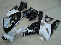 Kawasaki ZX6R 636 2003 2004 white/black monster fairing kits, this Kawasaki ZX6R 636 2003 2004 plastics was applied in white/black monstergraphics, this 2003 2004 ZX6R 636 fairing set comes with the both color and decals shown as the photo.If you want to do custom fairings for ZX6R 636 2003 2004,our talented airbrusher will custom it for you.