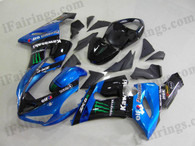Kawasaki ZX6R 636 2005 2006 blue/black Monster and black fairing kits, this Kawasaki ZX6R 636 2005 2006 plastics was applied in blue/black Monster and blackgraphics, this 2005 2006 ZX6R 636 fairing set comes with the both color and decals shown as the photo.If you want to do custom fairings for ZX6R 636 2005 2006,our talented airbrusher will custom it for you.