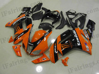 Kawasaki ZX6R 636 2007 2008 orange/black Monster fairing kits, this Kawasaki ZX6R 636 2007 2008 plastics was applied in orange/black Monstergraphics, this 2007 2008 ZX6R 636 fairing set comes with the both color and decals shown as the photo.If you want to do custom fairings for ZX6R 636 2007 2008,our talented airbrusher will custom it for you.