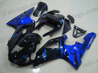 Yamaha YZF-R1 1998 1999 candy blue/glossy black flame fairing kits, this Yamaha YZF-R1 1998 1999 plastics was applied in candy blue/glossy black flamegraphics, this 1998 1999 YZF-R1 fairing set comes with the both color and decals shown as the photo.If you want to do custom fairings for YZF-R1 1998 1999,our talented airbrusher will custom it for you.