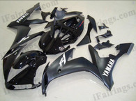 Yamaha YZF-R1 2004 2005 2006 matt black/glossy black fairing kits, this Yamaha YZF-R1 2004 2005 2006 plastics was applied in matt black/glossy blackgraphics, this 2004 2005 2006 YZF-R1 fairing set comes with the both color and decals shown as the photo.If you want to do custom fairings for YZF-R1 2004 2005 2006,our talented airbrusher will custom it for you.