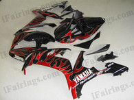 Yamaha YZF-R1 2004 2005 2006 black/red flame fairing kits, this Yamaha YZF-R1 2004 2005 2006 plastics was applied in black/red flamegraphics, this 2004 2005 2006 YZF-R1 fairing set comes with the both color and decals shown as the photo.If you want to do custom fairings for YZF-R1 2004 2005 2006,our talented airbrusher will custom it for you.