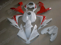 Yamaha YZF-R1 2004 2005 2006 red/white fairing kits, this Yamaha YZF-R1 2004 2005 2006 plastics was applied in red/whitegraphics, this 2004 2005 2006 YZF-R1 fairing set comes with the both color and decals shown as the photo.If you want to do custom fairings for YZF-R1 2004 2005 2006,our talented airbrusher will custom it for you.