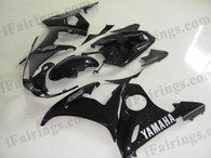 Yamaha YZF-R6 2003 2004 2005 glossy black fairing kits, this Yamaha YZF-R6 2003 2004 2005 plastics was applied in glossy blackgraphics, this 2003 2004 2005 YZF-R6 fairing set comes with the both color and decals shown as the photo.If you want to do custom fairings for YZF-R6 2003 2004 2005,our talented airbrusher will custom it for you.