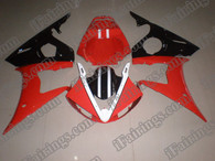 Yamaha YZF-R6 2003 2004 2005 red/black fairing kits, this Yamaha YZF-R6 2003 2004 2005 plastics was applied in red/blackgraphics, this 2003 2004 2005 YZF-R6 fairing set comes with the both color and decals shown as the photo.If you want to do custom fairings for YZF-R6 2003 2004 2005,our talented airbrusher will custom it for you.