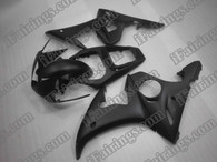 Yamaha YZF-R6 2003 2004 2005 flat/matt black fairing kits, this Yamaha YZF-R6 2003 2004 2005 plastics was applied in flat/matt blackgraphics, this 2003 2004 2005 YZF-R6 fairing set comes with the both color and decals shown as the photo.If you want to do custom fairings for YZF-R6 2003 2004 2005,our talented airbrusher will custom it for you.