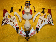 Yamaha YZF-R6 2006 2007 white/gold flame fairing kits, this Yamaha YZF-R6 2006 2007 plastics was applied in white/gold flamegraphics, this 2006 2007 YZF-R6 fairing set comes with the both color and decals shown as the photo.If you want to do custom fairings for YZF-R6 2006 2007,our talented airbrusher will custom it for you.