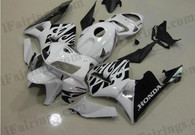 Honda CBR600RR 2005 2006 white and black flamefairing kits, this Honda CBR600RR 2005 2006 plastics was applied in white and black flamegraphics, this 2005 2006 CBR600RR fairing set comes with the both color and decals shown as the photo.If you want to do custom fairings for CBR600RR 2005 2006,our talented airbrusher will custom it for you.