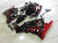 Honda CBR600 F3 1995 1996 black/red flame fairing kits, 1995 1996 Honda CBR600 F3 black/red flame plastic.This Honda CBR600 F3 1995 1996 fairing kits was applied in black/red flame graphics, this 1995 1996 CBR600 fairing set comes with the both color and decals shown as the photo.If you want to do custom fairings for CBR600 F3 1995 1996,our talented airbrusher will custom it for you.