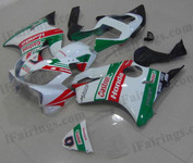 Honda CBR600 F4i 2001 2002 2003 CASTROL fairing kits, this Honda CBR600 F4i 2001 2002 2003 plastics was applied in CASTROL graphics, this 2001 2002 2003 CBR600 fairing set comes with the both color and decals shown as the photo.If you want to do custom fairings for CBR600 F4i 2001 2002 2003,our talented airbrusher will custom it for you.