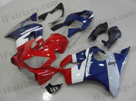 Honda CBR600 F4i 2001 2002 2003 red/white/blue fairing kits, this Honda CBR600 F4i 2001 2002 2003 plastics was applied in red/white/blue graphics, this 2001 2002 2003 CBR600 fairing set comes with the both color and decals shown as the photo.If you want to do custom fairings for CBR600 F4i 2001 2002 2003,our talented airbrusher will custom it for you.