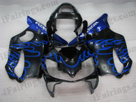 Honda CBR600 F4i 2001 2002 2003 black/blue flame fairing kits, this Honda CBR600 F4i 2001 2002 2003 plastics was applied in black/blue flame graphics, this 2001 2002 2003 CBR600 fairing set comes with the both color and decals shown as the photo.If you want to do custom fairings for CBR600 F4i 2001 2002 2003,our talented airbrusher will custom it for you.