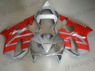 Honda CBR600 F4i 2001 2002 2003 silver/red fairing kits, this Honda CBR600 F4i 2001 2002 2003 plastics was applied in silver/red graphics, this 2001 2002 2003 CBR600 fairing set comes with the both color and decals shown as the photo.If you want to do custom fairings for CBR600 F4i 2001 2002 2003,our talented airbrusher will custom it for you.