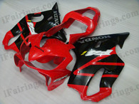 Honda CBR600 F4i 2001 2002 2003 red/black fairing kits, this Honda CBR600 F4i 2001 2002 2003 plastics was applied in red/black graphics, this 2001 2002 2003 CBR600 fairing set comes with the both color and decals shown as the photo.If you want to do custom fairings for CBR600 F4i 2001 2002 2003,our talented airbrusher will custom it for you.