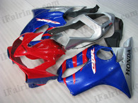 Honda CBR600 F4i 2001 2002 2003 red/blue/silver fairing kits, this Honda CBR600 F4i 2001 2002 2003 plastics was applied in red/blue/silver graphics, this 2001 2002 2003 CBR600 fairing set comes with the both color and decals shown as the photo.If you want to do custom fairings for CBR600 F4i 2001 2002 2003,our talented airbrusher will custom it for you.