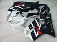 Honda CBR600 F4i 2001 2002 2003 white/blue fairing kits, this Honda CBR600 F4i 2001 2002 2003 plastics was applied in white/blue graphics, this 2001 2002 2003 CBR600 fairing set comes with the both color and decals shown as the photo.If you want to do custom fairings for CBR600 F4i 2001 2002 2003,our talented airbrusher will custom it for you.
