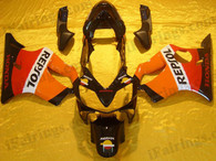 Honda CBR600 F4i 2001 2002 2003 Repsol replica fairing kits, this Honda CBR600 F4i 2001 2002 2003 plastics was applied in Repsol replica graphics, this 2001 2002 2003 CBR600 fairing set comes with the both color and decals shown as the photo.If you want to do custom fairings for CBR600 F4i 2001 2002 2003,our talented airbrusher will custom it for you.