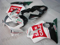 Honda CBR600 F4i 2001 2002 2003 SAN CARLO fairing kits, this Honda CBR600 F4i 2001 2002 2003 plastics was applied in SAN CARLO graphics, this 2001 2002 2003 CBR600 fairing set comes with the both color and decals shown as the photo.If you want to do custom fairings for CBR600 F4i 2001 2002 2003,our talented airbrusher will custom it for you.