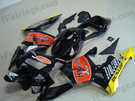 Honda CBR600RR 2003 2004 HM plant fairing kits, this Honda CBR600RR 2003 2004 plastics was applied in HM plant graphics, this 2003 2004 CBR600RR fairing set comes with the both color and decals shown as the photo.If you want to do custom fairings for CBR600RR 2003 2004,our talented airbrusher will custom it for you.