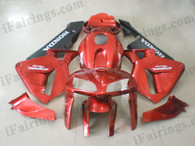 Honda CBR600RR 2005 2006 red/black fairing kits, this Honda CBR600RR 2005 2006 plastics was applied in red/blackgraphics, this 2005 2006 CBR600RR fairing set comes with the both color and decals shown as the photo.If you want to do custom fairings for CBR600RR 2005 2006,our talented airbrusher will custom it for you.