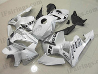 Honda CBR600RR 2005 2006 white repsol fairing kits, this Honda CBR600RR 2005 2006 plastics was applied in white repsolgraphics, this 2005 2006 CBR600RR fairing set comes with the both color and decals shown as the photo.If you want to do custom fairings for CBR600RR 2005 2006,our talented airbrusher will custom it for you.